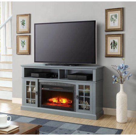"""Media Fireplace TV Stand TVs up to 65"""" Black White"""