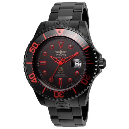 21870 Men's Grand Diver Black Dial Black IP Steel Bracelet Automatic Dive - Automatic Divers Black Dial Watch