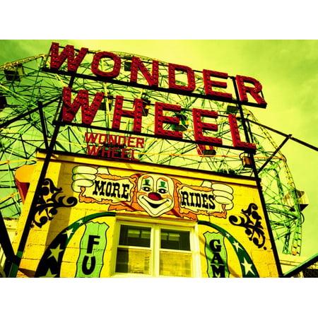 Entrance to the Wonder Wheel, Coney Island, Brooklyn, New York City, New York State, USA Print Wall (Wonder Wheel Coney Island)