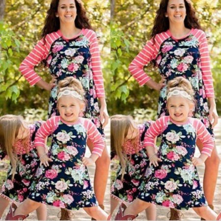 5463bfaafd New Family Matching Outfits Mother Daughter Dress Girls Kids Mom Fashion  Striped Skirt