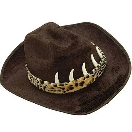 Black Cowboy Hat With Teeth Crocodile Dundee Hunter Western Croc Movie Adult](Crocodile Hunter Hat)