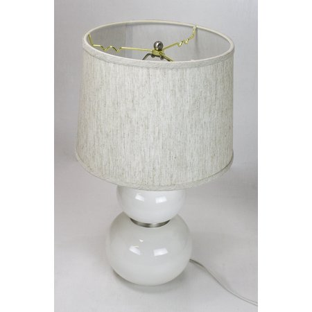 Keal White Table Lamp Base by Laura Ashley with Drum Textured Oatmeal Shade ()