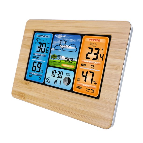 Wireless Weather Station, Digital Indoor/Outdoor Thermometer & Hygrometer with Temperature Humidity Barometer, Weather Forecast with LCD Back-Light, and Temperature/Time Alert