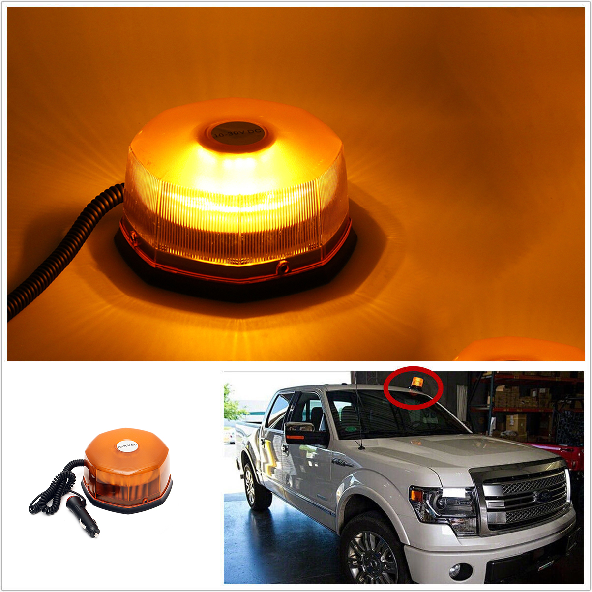 54 LED Strobe Revolving Rotating Beacon Roof Top Emergency Breakdown Light Car Warning Car Accessories