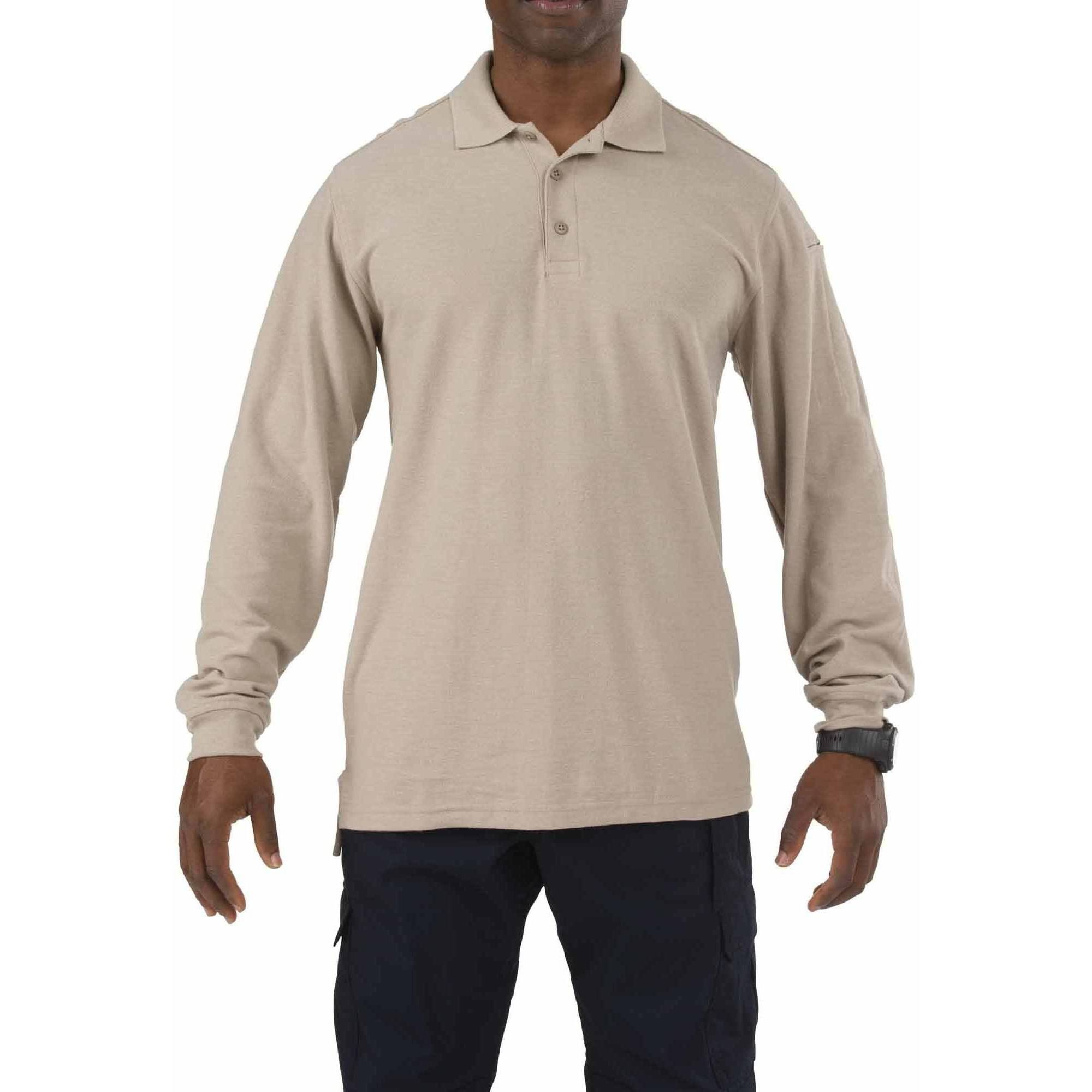 Utility Polo Shirt Long Sleeve, Silver Tan