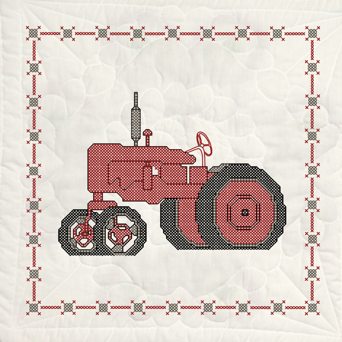 "Fairway Needlecraft Red Tractor Stamped Quilt Blocks, 18"" x 18"""