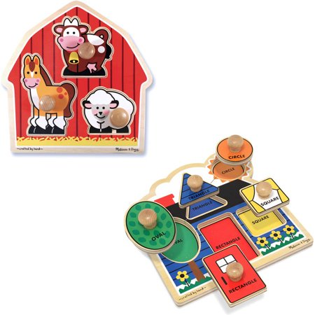 Melissa & Doug Jumbo Knob Wooden Puzzles Set - Shapes and Barn