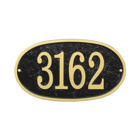 Personalized Whitehall Products Fast & Easy Oval House Numbers Plaque in Green/Gold