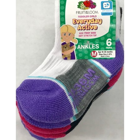 Fruit Of The Loom Girl's Ankle Socks, 6 Pack