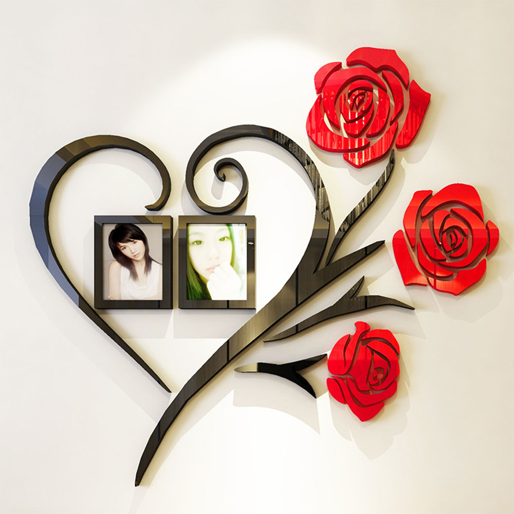 Family Love Rose Wall Stickers 3D DIY Photo Frame Wall Decals Mural Room Decor