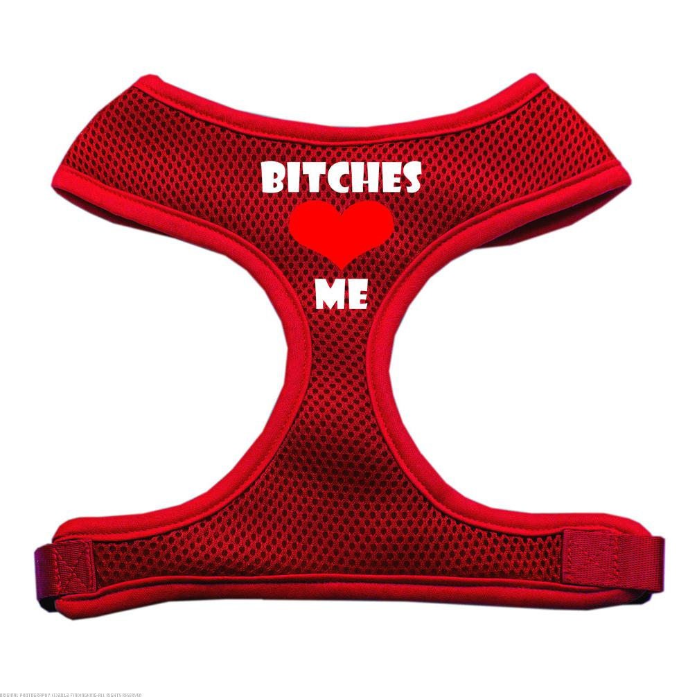 Mirage Pet Products 70-03 LGRD Bitches Love Me Soft Mesh Harnesses Red Large