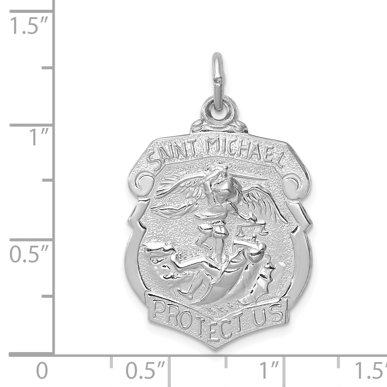 Sterling Silver Themed Jewelry Pendants /& Charms Solid 15 mm 22 mm St Michael Badge Medal