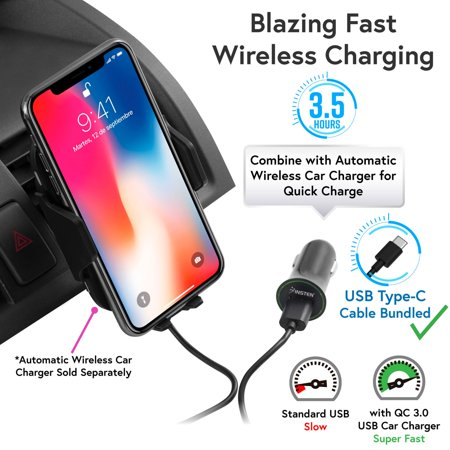 Wireless Car Charger Mount by Insten Motion Sensor Air Vent Phone Holder with Wireless Charging Pad and USB QC 3.0 Car Charger Power Adapter for iPhone X 8 Plus Samsung Galaxy S9 S9+ S8 LG G7 ThinQ - image 4 de 5