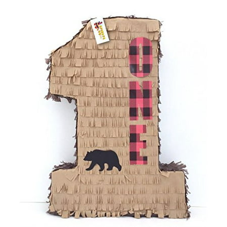 APINATA4U Number One Lumberjack Pinata with Bear First Birthday Pinata 20