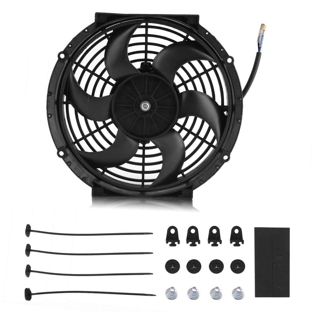 10 Inch Curved Blade 12v 80w Cars Auto Powerful Slim Fan Push Pull Electric Radiator Cooling Cooler With Fan... by Music