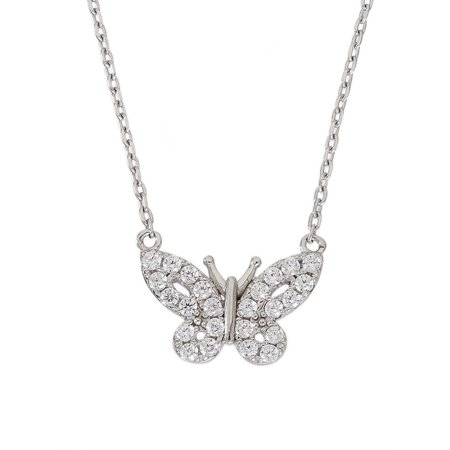 """Sterling Silver Cubic Zirconia Butterfly Necklace, 16"""" +2"""""""