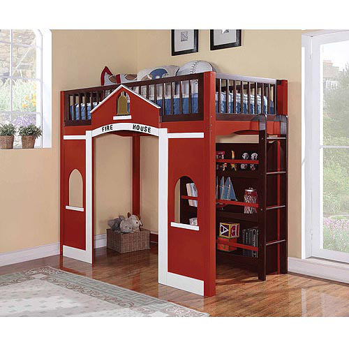 Fola Collection Fire House Twin Loft Bed, Red and Espresso