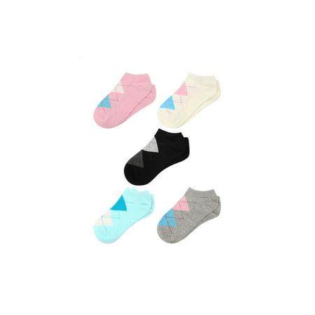 Unique Bargains Women's Argyle Pattern Stretchy Ankle Length Short Socks 5 Pairs Assorted