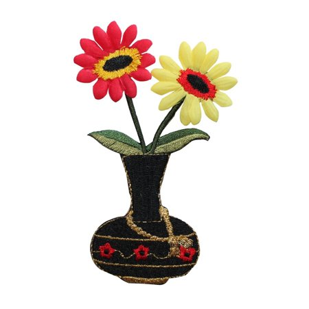 Id 7025 Daisy Flowers In Vase Patch Lace Decoration Embroidered Iron