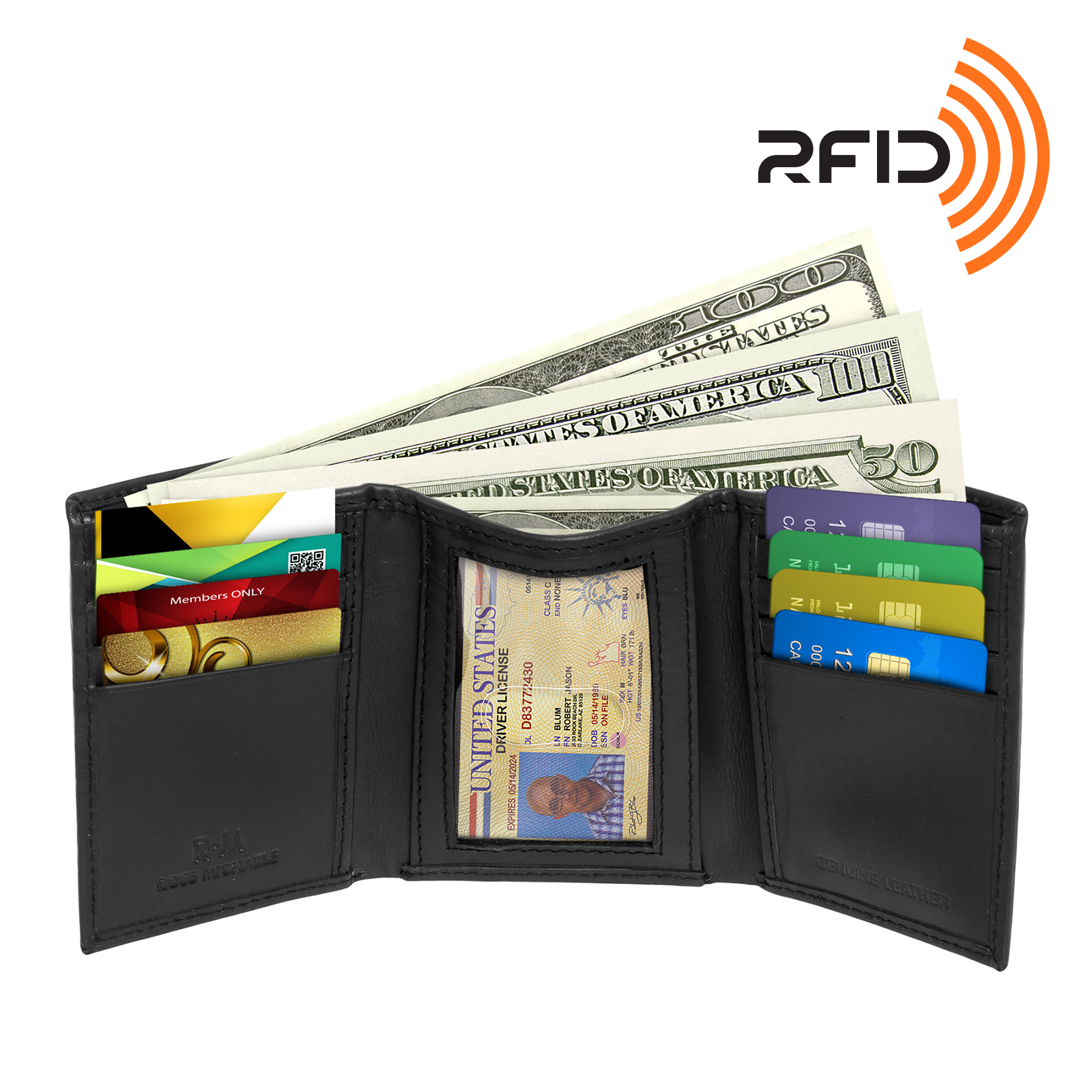 NEW Black RFID Blocking Genuine Leather Trifold Wallet by Ross Michaels for Men