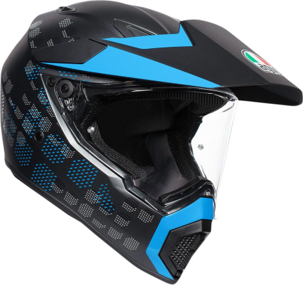 AGV AX-9 Matte MX Offroad Helmet Matte Black/Cyan Blue