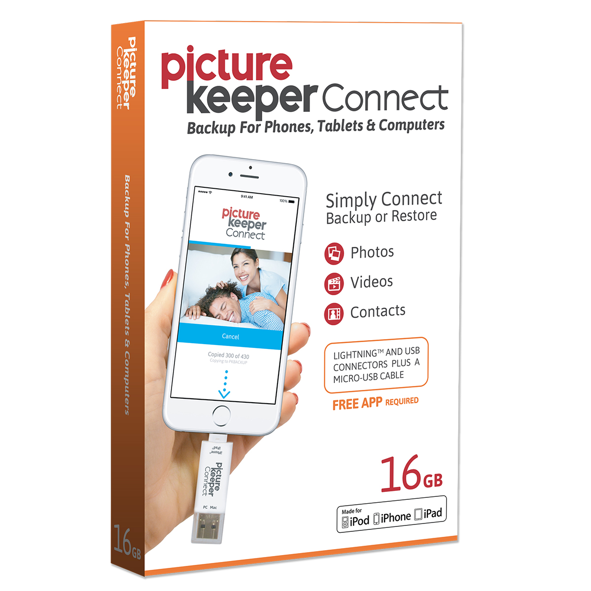 Picture Keeper CONNECT 16GB Portable Flash Drive Mobile Phone Tablet and Computer Photo Backup USB Device