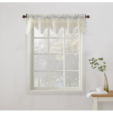 - No. 918 Quinn Floral Lace Sheer Rod Pocket Kitchen Curtains