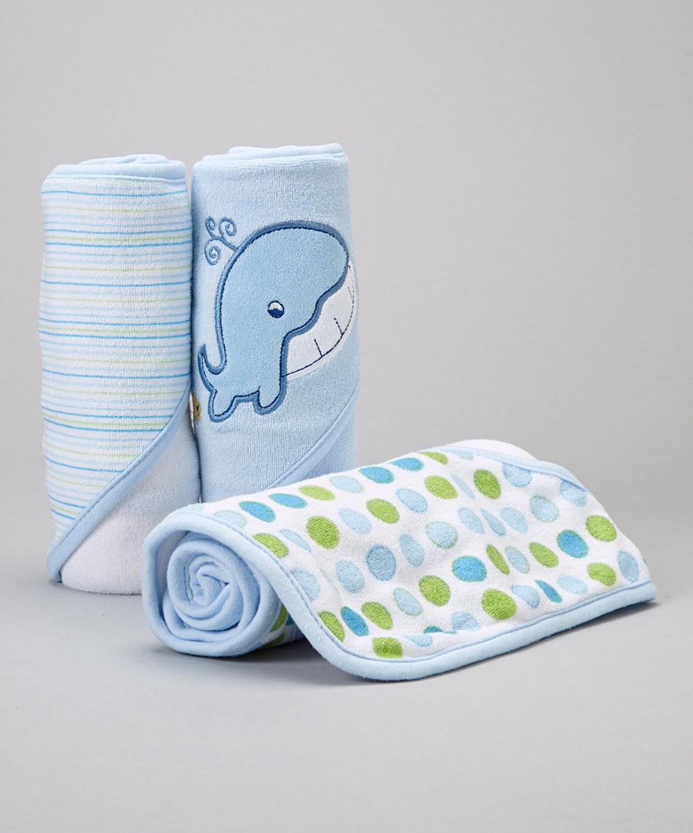 Spasilk 3 Hooded Towel Set, Blue Whale by Spasilk