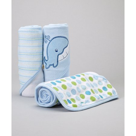 Spasilk 3 Hooded Towel Set, Blue Whale - Hooded Towels For Teens