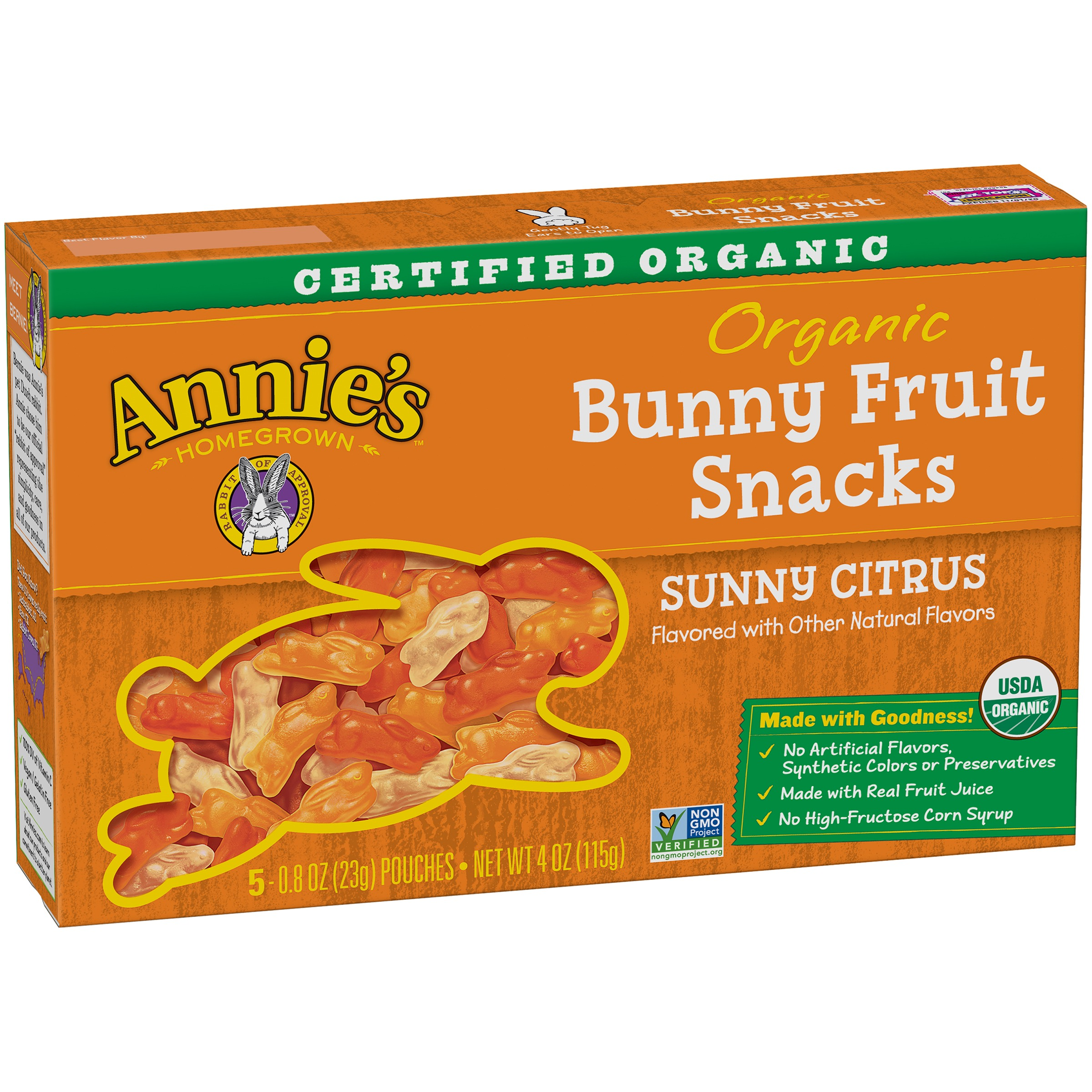 Annie's Homegrown Sunny Citrus Organic Bunny Fruit Snacks, 0.8 oz, 5 count by Annie's Homegrown