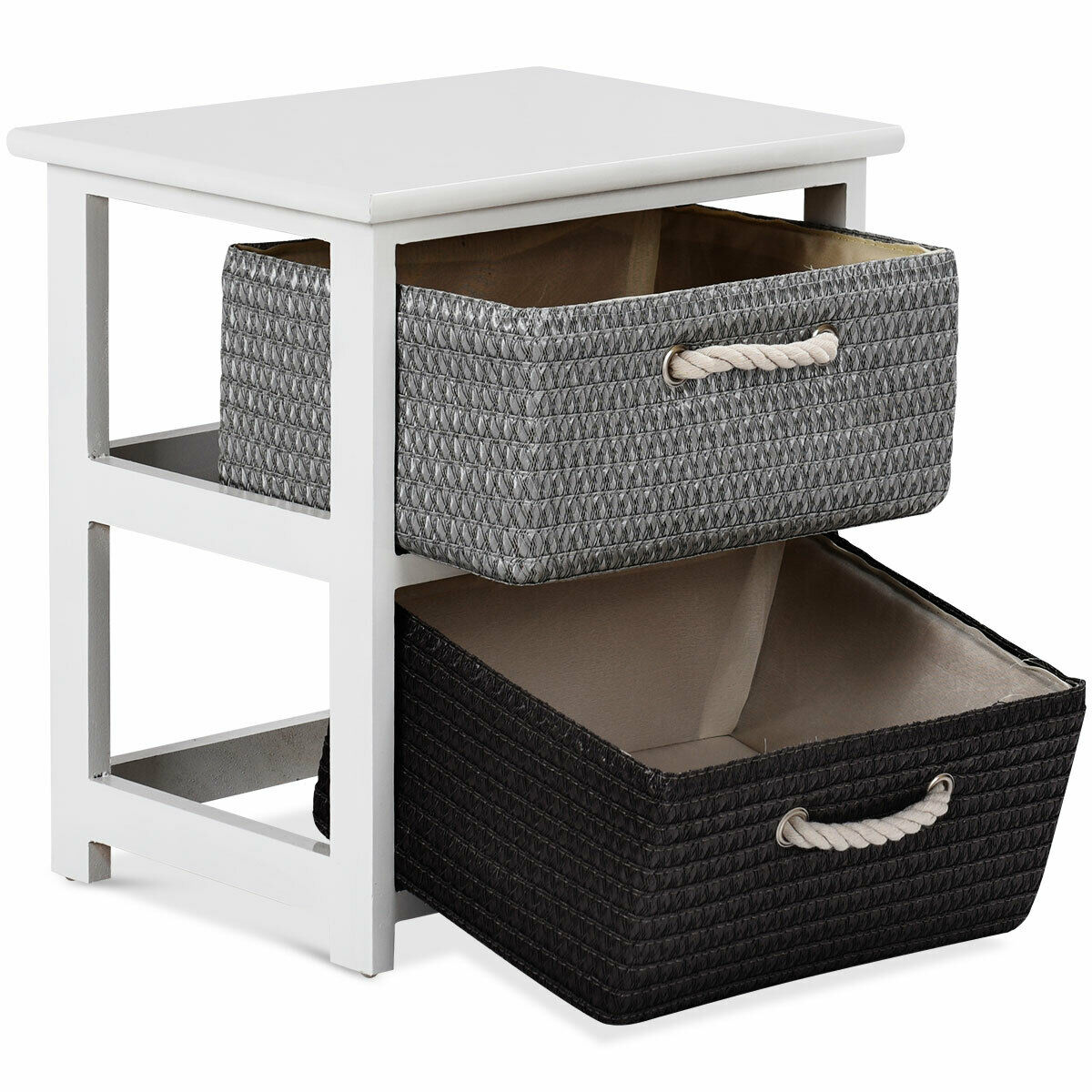 Gymax 2PC Wooden Nightstands 2 Weaving Baskets Bedside Table Storage Organizer Side Table - image 7 de 10