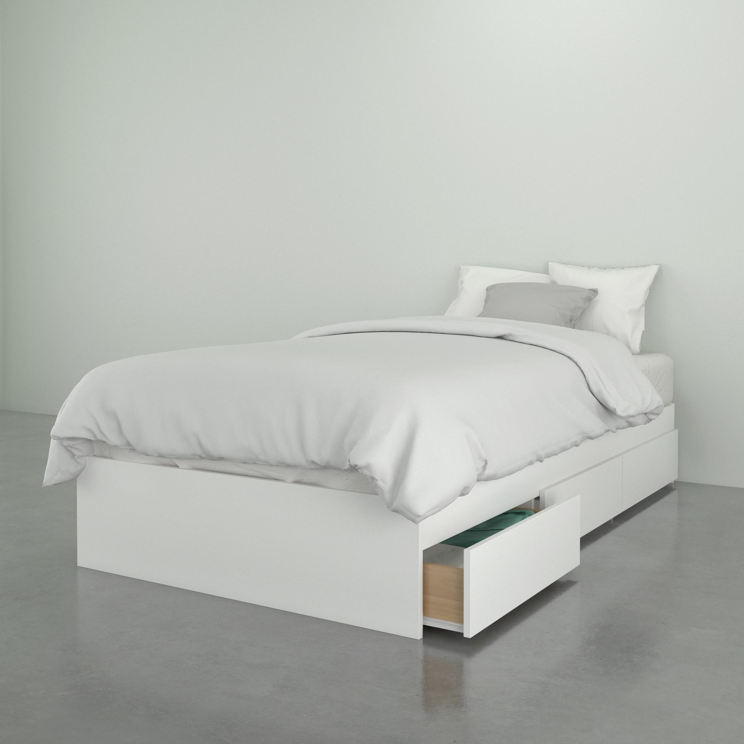 Nexera Paris Twin Size 3 Drawer Storage Bed, White