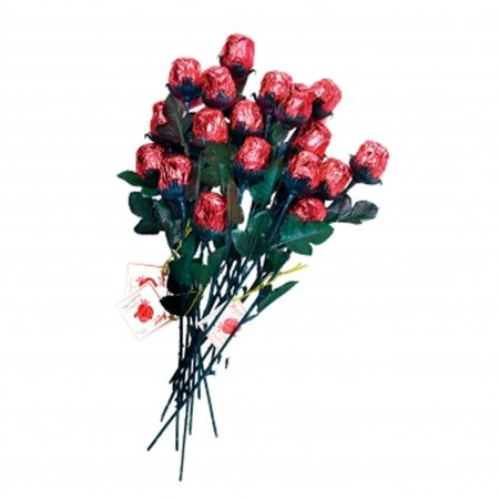 Fine Milk Chocolate Red Sweetheart Roses With green Stem & Leaves, Red Foiled - Bouquet of6 Roses from Madelaine Chocolate