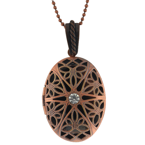 """1.25"""" Olive Shape Engraved Filigree Crystal Locket Pendant with 28"""" Chain"""