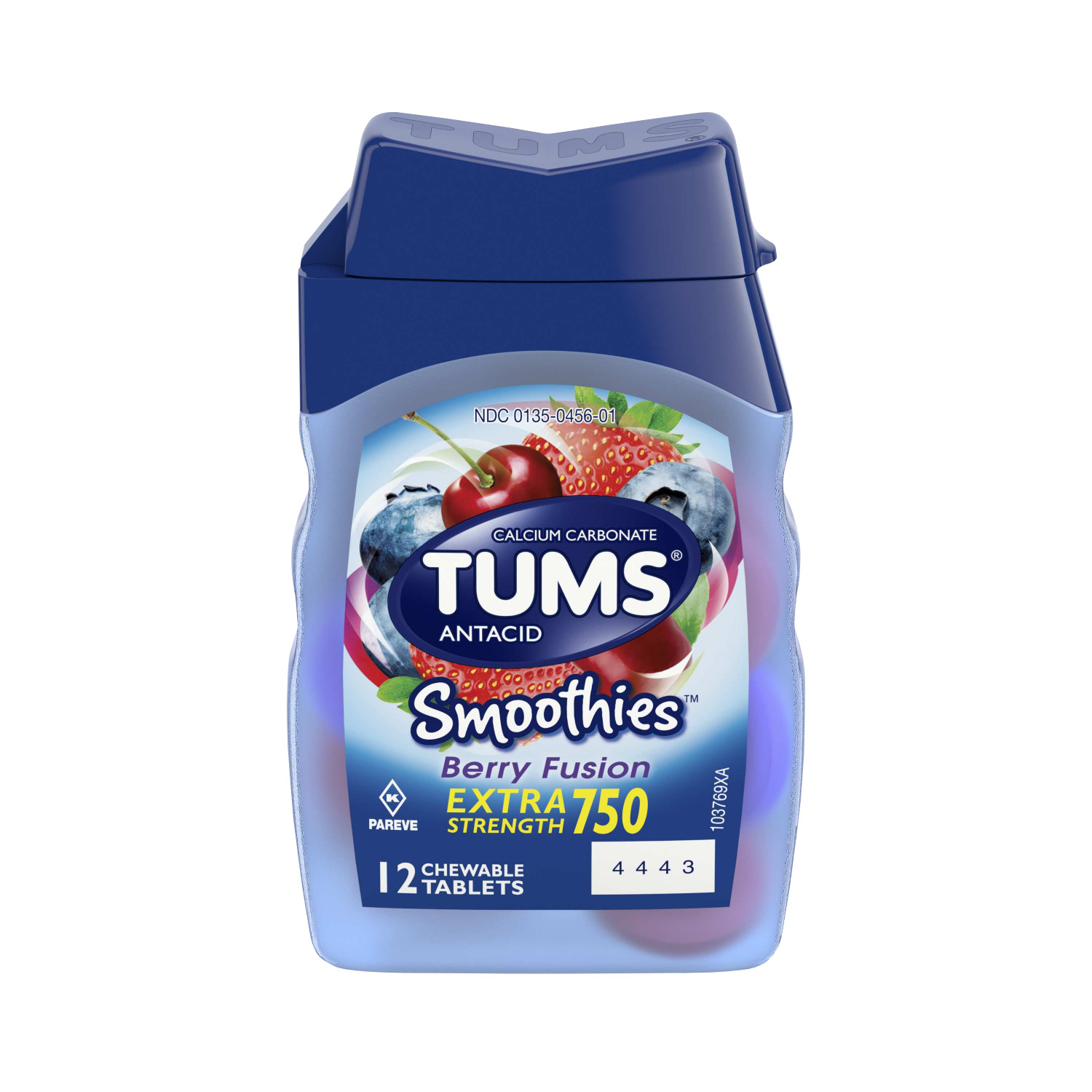 (2 Pack) Tums smoothies berry fusion extra strength antacid chewable tablets for heartburn relief, 12 tablets