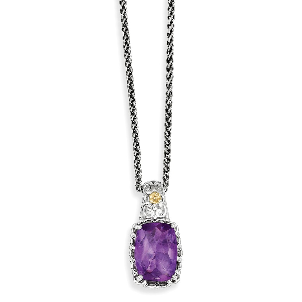 Sterling Silver w  14k Yellow Gold Amethyst Vintage Style Necklace by Jewelrypot