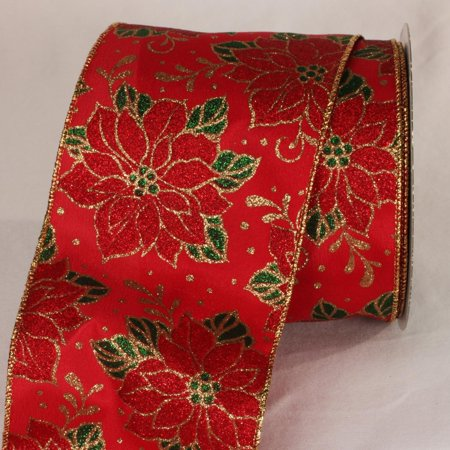 """Walmart Seller Central >> Red, Green and Gold Christmas Poinsettia Wired Craft Ribbon 4"""" x 20 Yards - Walmart.com"""