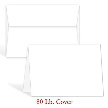 White Blank Greeting Fold Over Cards 80lb. Uncoated, 4 1/2 X 6 Inches Cards - 40 Foldover Greeting Cards Cards and (500 Folded Cards)