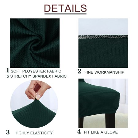 Stretch Knit Jacquard Chair Cover Short Dining Chair Slipcover Dark Green - image 3 de 7