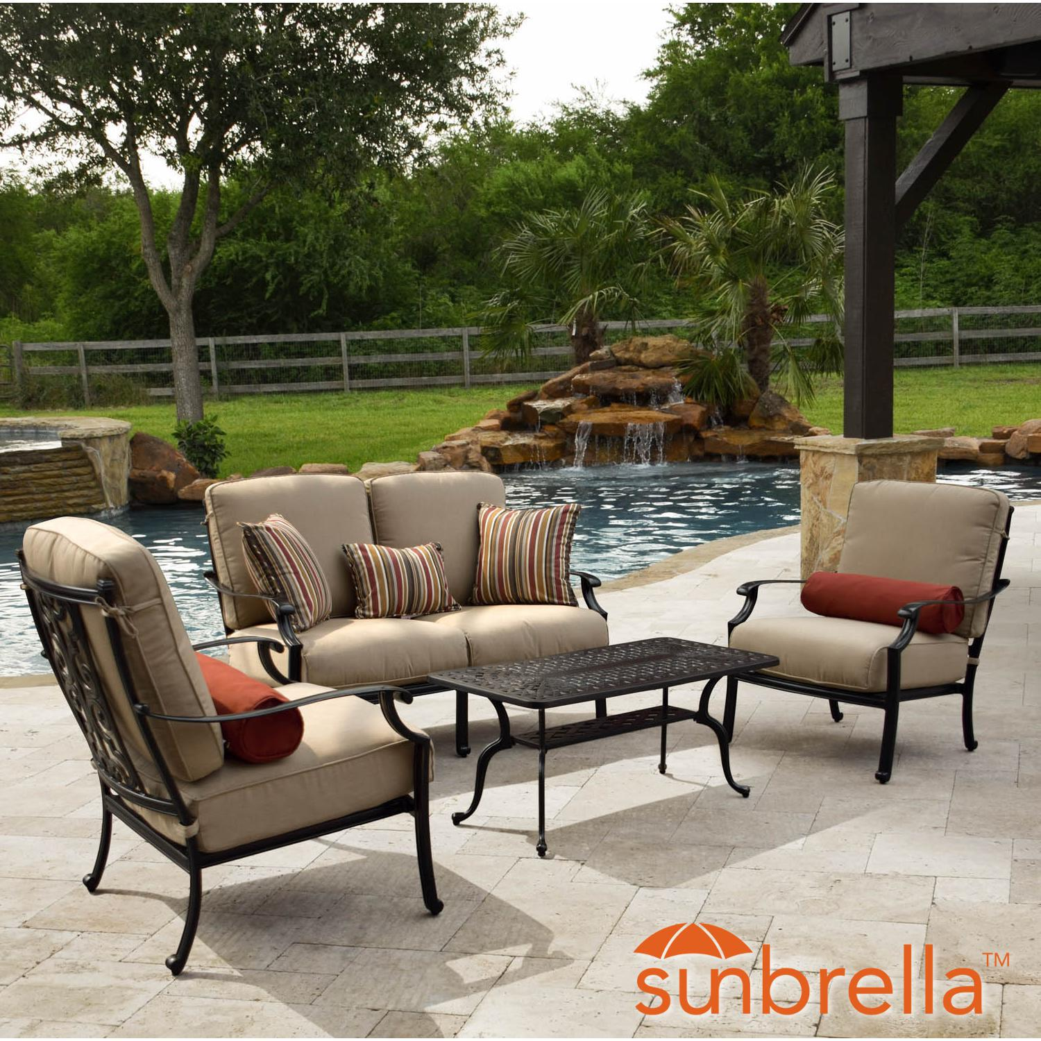 Bocage 4 piece cast aluminum patio conversation set w loveseat club chairs sunbrella heather beige cushions by lakeview outdoor designs