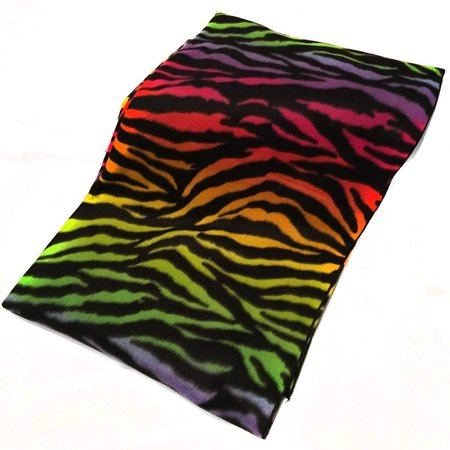 lovemyfabric lovemyfabric Printed Animal Rainbow Zebra Fleece Throw Blanket 58