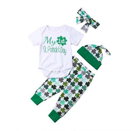8fcdfa7a6 XIAXAIXU - My First St. Patrick's Day Newborn Infant Baby Boy Girl Romper+ Pants+Hat+Headband 4Pcs Outfits Clothes - Walmart.com