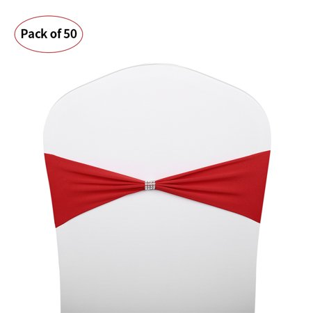 50pcs Bling Bling Wedding Chair Sashes Bows Elastic Spandex Chair Sash Covers Bands Wedding Supplies Decorations--Red