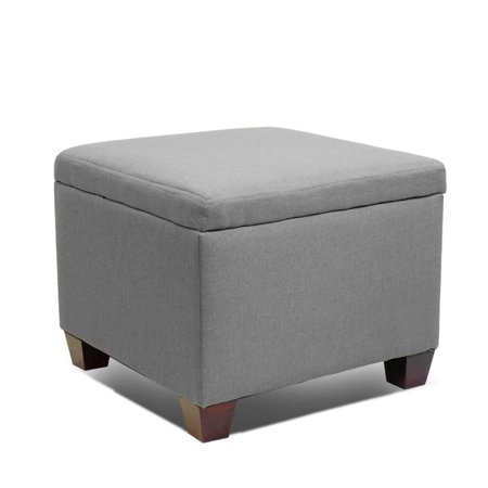 Magshion Button Tufted Accent Storage Ottoman Lift Top Footstool Grey, Square