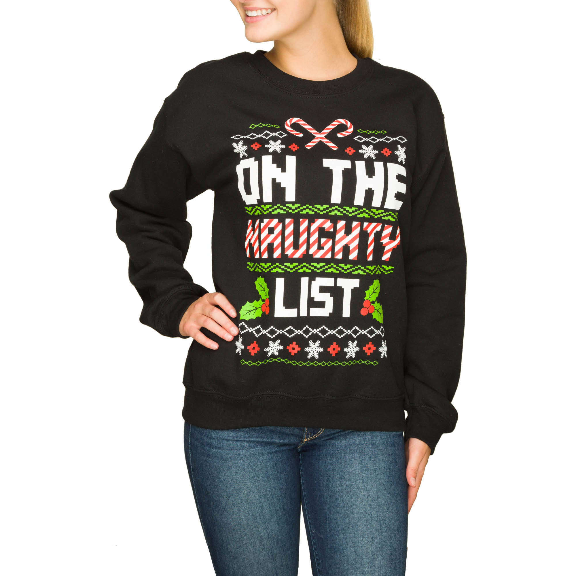 Juniors' Holiday Christmas Crewneck Pullover Sweaters