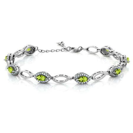 3.66 Ct Marquise Green Peridot 925 Sterling Silver Bracelet - Bracelet Light