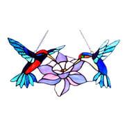 "CHLOE Lighting NECTAR Tiffany-glass Hummingbirds Window Panel 18"" Wide"