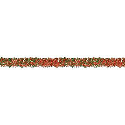 beistle 50281-rg 6-ply flame resistant red and green metallic festooning garland, 4 x - Festooning Garland