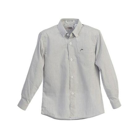 Gioberti Boys Grey White Striped Button-Up Long Sleeve Dress Shirt 8-18