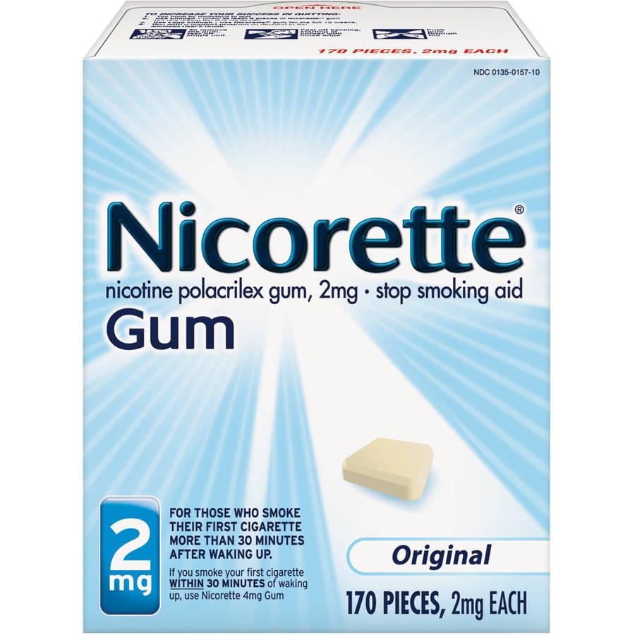 Nicorette Stop Smoking Aid Nicotine Gum, Original Flavor, 2mg, 170 Pieces